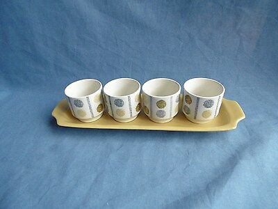 VINTAGE 1960's SET OF 4  W.R. MIDWINTER OAKLEY EGG CUPS ON STAND