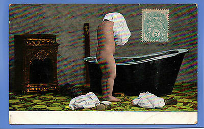 Old Vintage Postcard Young Child Getting Undressed For The Bath Children