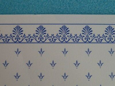 Dolls House Miniature 1:12 Scale Lounge Wallpaper x 4 Blue & White (P27)