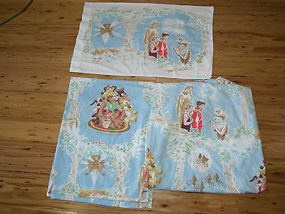 Vintage 80s ET Twin Bed Flat and Fitted Sheet Set with Pillowcase