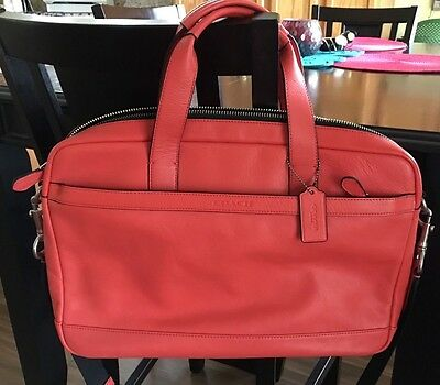 Coach Hudson Bag Briefcase Smooth Leather F71561 Coral Nwot Msrp $450