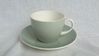 VINTAGE Poole Pottery CUP AND SAUCER Streamline  Celadon Green 1954