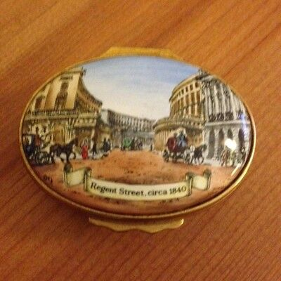 Halcyon Days enamel pill box Regent Street Hedges & Butler