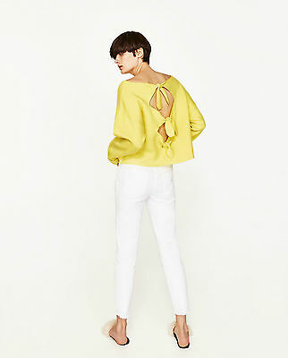 Zara Woman Ss/17 New Yellow Boatneck Sweatshirt With Back Bows Ref.6254/015 !