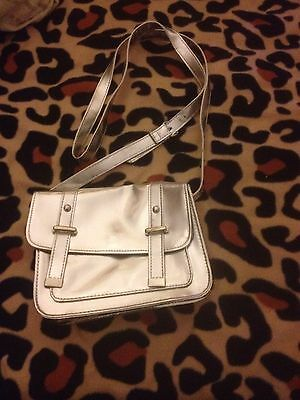 Ladies Small Silver Satchel Style Bag With Long Strap