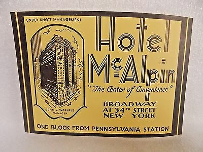 ORIGINAL vintage SUITCASE luggage TRAVEL LABEL decal HOTEL McALPIN NEW YORK CITY