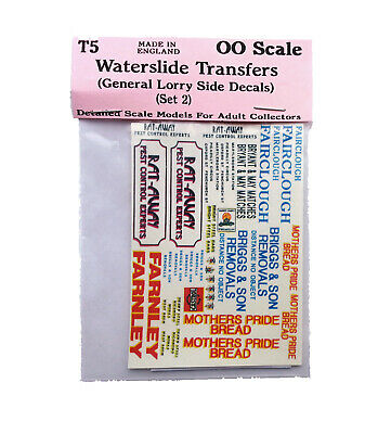 Lorry decals set 1 Water-slide Transfers - OO Scale 1:76 Model Decals. T5