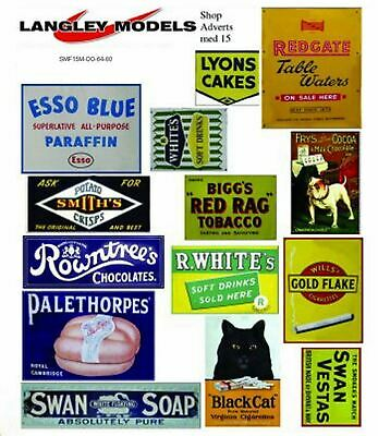 Shop ads signs Large Paper Copies old Enamel OO Scale Decals SMF16n