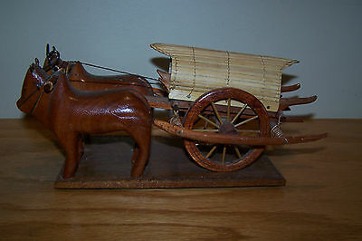 Vintage Wood Carved Pair of Ox ~ Oxen Pulling Covered Wagon/Cart