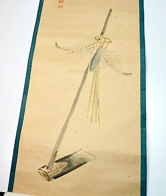 "Vintage Japanese Hand Painted Mulberry Paper & Silk Wall Hanging Scroll 77"" Long"