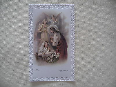 Sweet First Communion Girl Older Catholic Religious HOLY CARD with Lace Edge