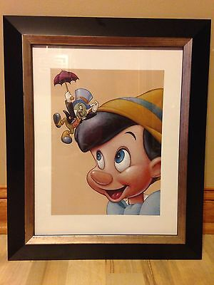 Disney Pinocchio & Jiminy FRIENDLY FUN Framed Print McGraw/Post Office Issue