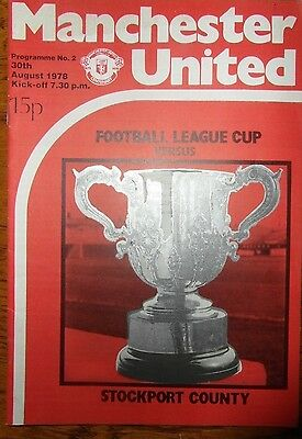 1978/79 Manchester United v Stockport County, League Cup, EXCELLENT CONDITION