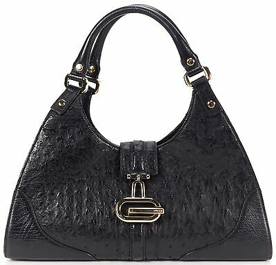 GUCCI Authentic Black Ostrich Leather Sherry Shoulder Bag