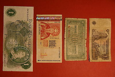Lot of 4 banknotes, one pound, CSR, bulgaria and russia
