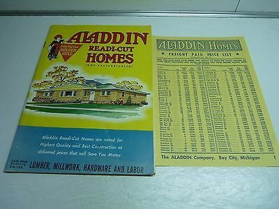 1957 ALADDIN Readi-Cut Homes Color Catalog w Price List Mid Century House Plans