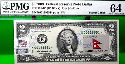 Money Us $2 Dollars Federal Reserve Star Note 2009 Pmg  Flag Of Nepal Ch Unc