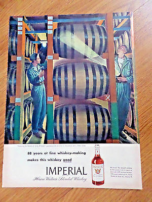 1946 Hiram Walker's Imperial Whiskey Ad Inspecting the Barrels of Aging Whiskey