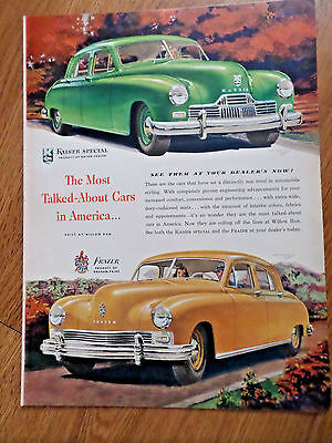 1947 Kaiser & Frazer Sedan Ad  Willow Run Michigan