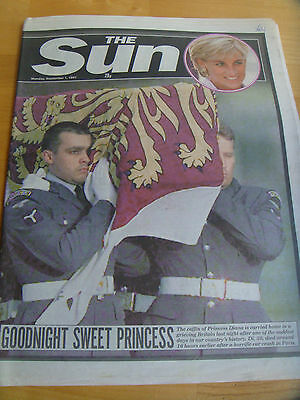 ORIGINAL VINTAGE 'THE SUN' MONDAY SEPTEMBER 1st 1997 - DIANA'S FUNERAL