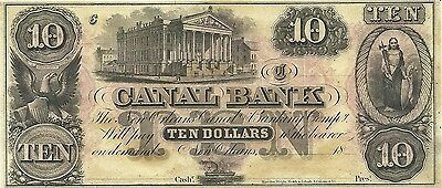 1840's NEW ORLEANS, LOUISIANA ~ CANAL BANK $10 CURRENCY ~ GEM CRISP UNCIRCULATED