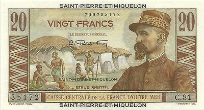 1950-1960 St Pierre & Miquelon ~ 20 Francs P-24 ~ Superb Gem Crisp Uncirculated