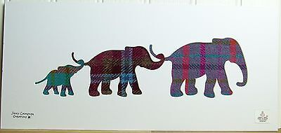 Harris Tweed Fabric Elephant Family Silhouette Picture 3303