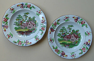 Antique Staffordshire Pottery Child's Plates Cottage Pearlware English Plate