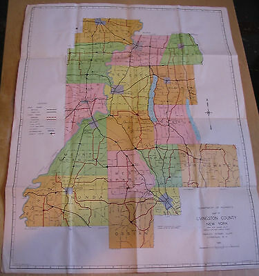 Livingston County New York 1961 Color Road Map