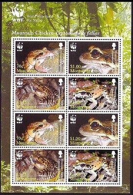 Montserrat WWF Mountain Chicken Frog Sheetlet of 2 sets / 8 stamps SG#MS1330