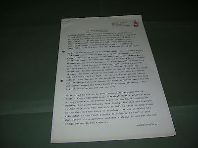 Rare Richard Johnson UK Anglia TV 1972 Press Release