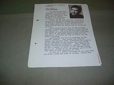 Rare Rediffusion TV Roy Dotrice Harold Pinter Caretaker 1966 UK Press Release