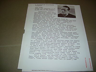Rare Rediffusion TV Jule Styne 1966 UK Press Release