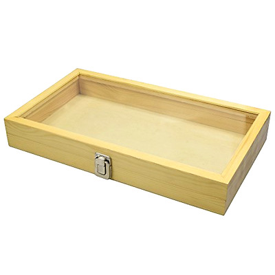 Jewelry Wood Box Organizer Case Clasp Wooden Glass Clear Top Display Storage New