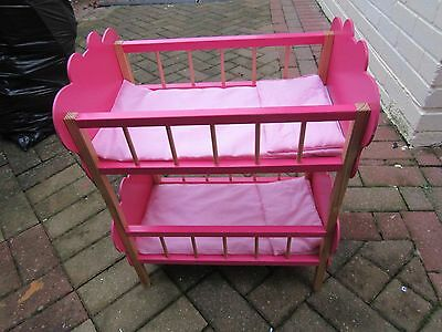 Children's Wooden TOY Pink BUTTERFLY DOLLIES BUNKBED with Pillows & Covers