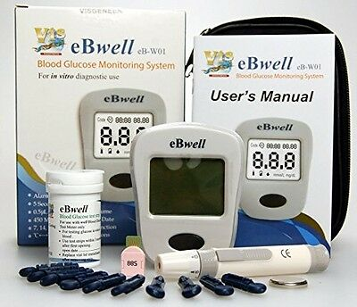 Diabetes Monitor Starter Kit Blood Glucometer 50 Replacement Test Strips 2016