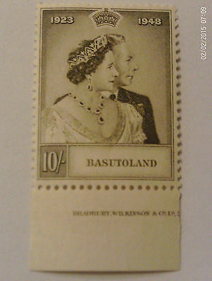 Kgv1 Basutoland 1948 Rsw Royal Silver Wedding 10S High Value Mh C/w Selvedge