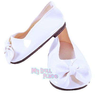 "White Shoes Patent Leather w/ Bow made for 18"" American Girl Doll Clothes"