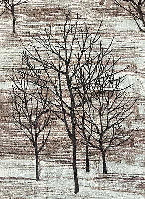 LOOK! 1950s VINTAGE COTTON BARKCLOTH FABRIC MID-CENTURY MODERN FOTHERGAY TREES
