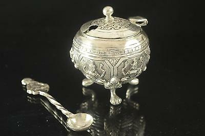 Antique Indian Repousse Solid Silver Mustard Pot & Spoon C1900 53G