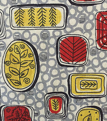 1940s/1950s VINTAGE COTTON  FABRIC - MID-CENTURY MODERN/ATOMIC BOTANIC DESIGN
