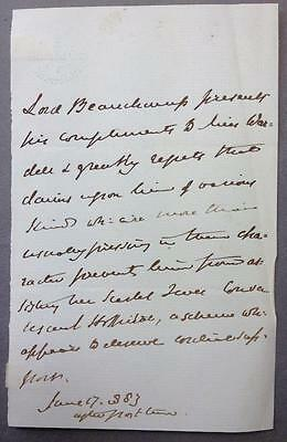 Frederick Lygon, 6th Earl Beauchamp, 3rd person letter, 1883