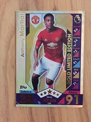 Match Attax 16/17 Cards Anthony Martial Gold Limited Edition