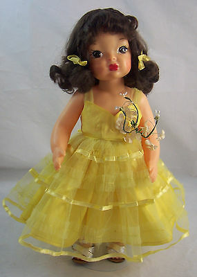 "Vintage Terri Lee 16"" Brunette Doll Yellow Formal Ballerina Bridesmaid Dress"