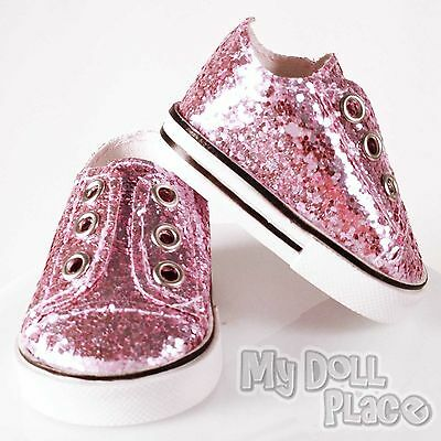 Sneakers Pink Sparkle Glitter Gym Shoes fit 18 inch American Girl Doll Clothes