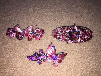 3 Vintage Hair Clips
