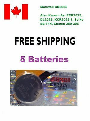 5x Maxwell CR2025 3V Lithium Coin Battery ECR2025, 208-205, 5003LC, L12, SBT14