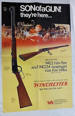 Vintage Winchester Poster 1972 Son of a Gun 9422 Rim Fire Dealer Promo NM Cond