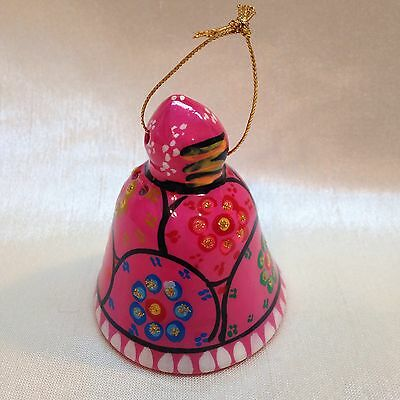 03B-C50 ORNAMENT BELL Red Clay Glazed Pink Colorful Floral Southwest