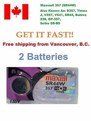 2x Maxwell 357 Silver Oxide Coin Battery 303 SR44W LR44 SR44SW AG13 A76 Batterie